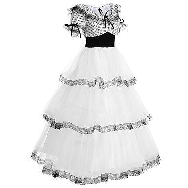 Sweet Lolita Dress Lolita Women's Outfits Cosplay White Puff / Balloon Sleeve Short Sleeve Long Length