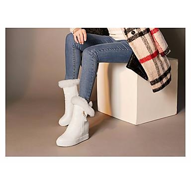 Damen Schuhe PU Frühling Winter Komfort Stiefel Für Normal Weiß Schwarz