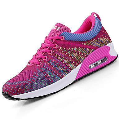 Damen Schuhe Tüll PU Frühling Herbst Komfort Sportschuhe Flacher Absatz Runde Zehe Schnürsenkel für Sportlich Draussen Schwarz Blau Rosa