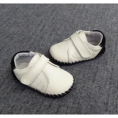 Poikien kengät Nahka Kevät Syksy Ensikengät Tasapohjakengät Kävely Tarranauhalla varten Kausaliteetti Valkoinen