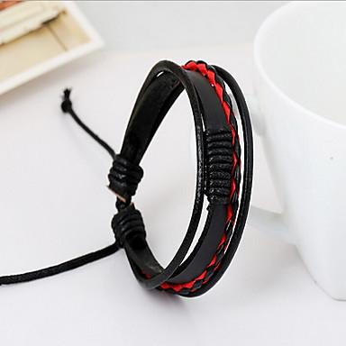 voordelige Herensieraden-Heren Lederen armbanden Touw Natuur Modieus Leder Armband sieraden Wit / Zwart / Rood Voor Speciale gelegenheden Lahja Sport