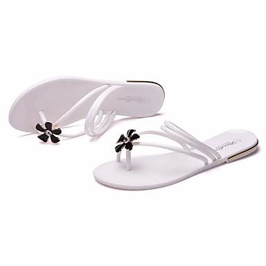 Naiset Sandaalit PVC Kevät Valkoinen Musta Pinkki Tasapohja