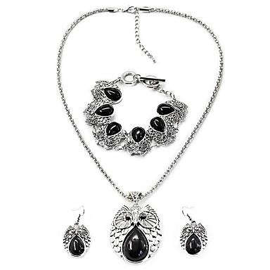 Mulheres Conjunto de jóias 1 Colar 1 Par de Brincos 1 Bracelete - Vintage Boêmio Coruja Preto Vermelho Azul Conjunto de Jóias Para