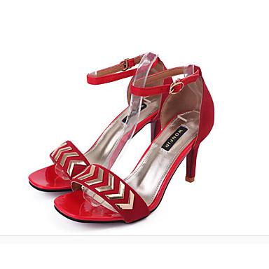 Damen High Heel Komfort Frühling PU Normal Schwarz Rot Grün Flach