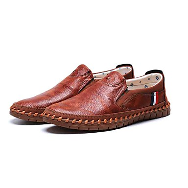 Miesten kengät Kangas Kevät / Syksy Comfort Mokkasiinit Kävely Musta / Ruskea / Comfort-huopa