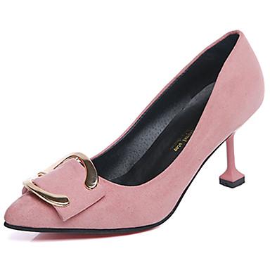 Mulheres Sapatos Cashmere Verão Saltos Caminhada Salto Agulha Ponta Redonda Combinação para Preto Vermelho Rosa claro