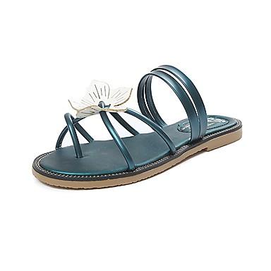 Damen Schuhe Kunstleder Sommer Herbst Komfort Fersenriemen Zehenring Knöchelriemen Leuchtende Sohlen Slippers & Flip-Flops Walking