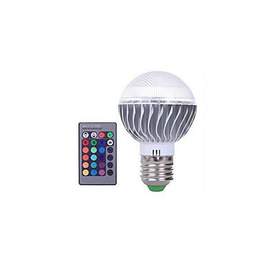 3W 300lm E27 Lâmpada Redonda LED A60(A19) 1 Contas LED LED Integrado Regulável Decorativa Controle Remoto RGB 85-265V