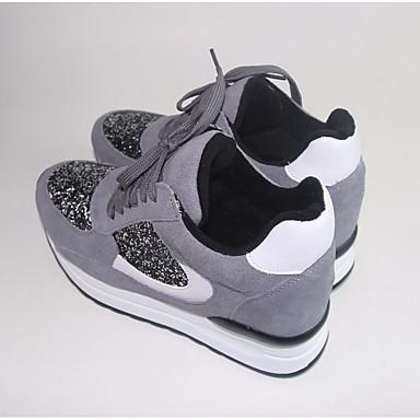 Damen Schuhe Tüll PU Frühling Komfort Sportschuhe Für Normal Weiß Schwarz Grau Rot