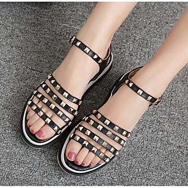 Naiset Sandaalit Comfort Kevät PU Päivittäin Kulta Valkoinen Musta Tasapohja