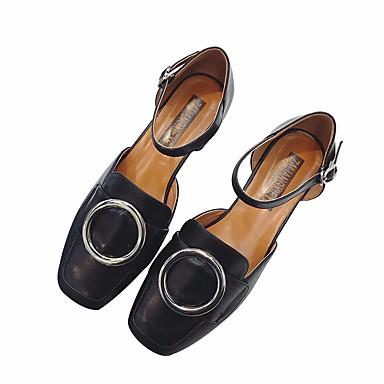 Naiset Sandaalit Comfort Kesä PU Kausaliteetti Tasapohja Musta Beesi Tasapohja