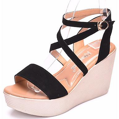 Mulheres Sapatos Camurça Verão Conforto Sandálias Salto Plataforma Peep Toe Preto / Café / Vermelho
