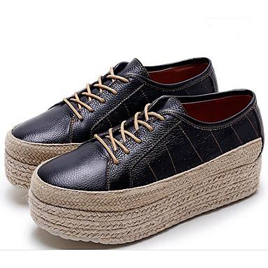 Naiset Kengät Nahka Kevät Syksy Comfort Oxford-kengät Creepers varten Kausaliteetti Musta