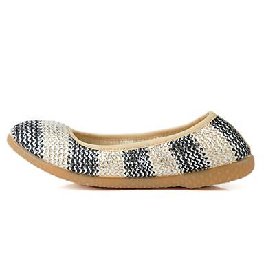 Mulheres Sapatos Tecido Primavera Verão Conforto Rasos Sem Salto Ponta Redonda para Dourado Prateado Vermelho Azul