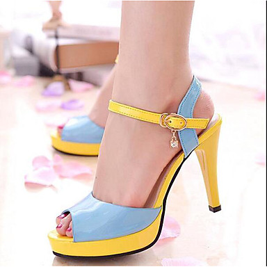 Naiset Kengät PU Kevät Comfort Sandaalit Käyttötarkoitus Kausaliteetti Muodollinen Valkoinen Sininen Pinkki