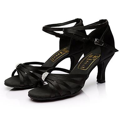 Women's Latin Shoes Silk Sandal Rhinestone Customized Heel Customizable Dance Shoes Black / Indoor / Leather