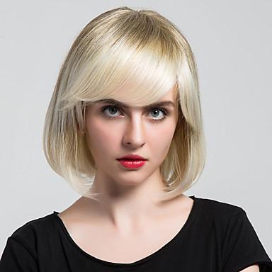 Klassisch Natürlich gewellt Maschinell gefertigt Echthaar Perücken Gute Qualität Alltag Beige Blond // Bleach Blond