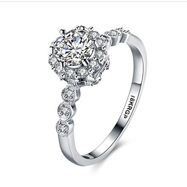 Dámské Prsten Kubický zirkon Syntetický diamant Módní Zirkon Pozlacené Kulatý Šperky Výročí Narozeniny Gratulace Dar Denní Ležérní