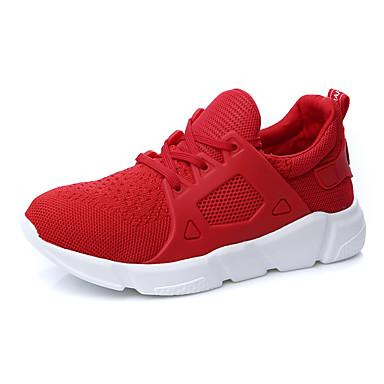 Damen Schuhe Tüll Frühling Komfort Sportschuhe Flacher Absatz Für Normal Weiß Schwarz Rot