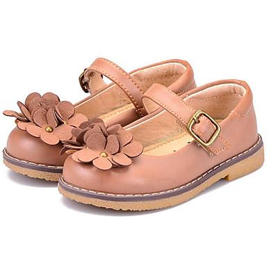 Mädchen Schuhe Nappaleder Leder Frühling Herbst Komfort Flache Schuhe Walking Niedriger Absatz Runde Zehe Klettverschluss Für Normal Kamel