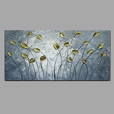 Pintura a Óleo Pintados à mão - Floral / Botânico Pastoril / Modern Tela de pintura / Lona esticada