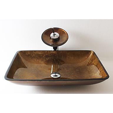 Clássica Rectângular material dissipador é Vidro Temperado Pia de Banheiro