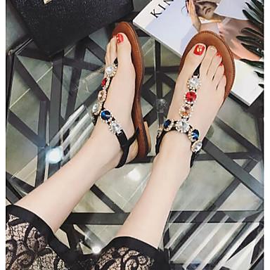 Naiset Kengät PU Kesä Comfort Sandaalit Käyttötarkoitus Kausaliteetti Valkoinen Musta Kahvi Pinkki