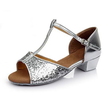 Mulheres Sapatos de Dança Latina Paetês Têni Salto Robusto Personalizável Sapatos de Dança Dourado / Prata / Vermelho / Interior