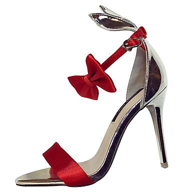 Mulheres Sapatos Couro Ecológico Verão Conforto Sandálias Salto Agulha Preto / Vermelho