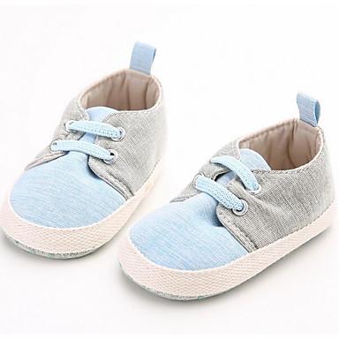 Baby Schuhe Stoff Frühling Herbst Lauflern Flache Schuhe Walking Niedriger Absatz Runde Zehe Klettverschluss Für Normal Blau
