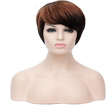 Synthetische Perücken Glatt Braun Damen Kappenlos Natürliche Perücke Kurz Synthetische Haare