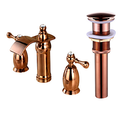 Difundido Cascata Duas alças de três furos Rosa Dourado, Faucet Set