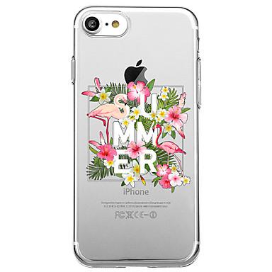 Hülle Für Apple Transparent Muster Rückseitenabdeckung Wort / Satz Flamingo Blume Weich TPU für iPhone 7 plus iPhone 7 iPhone 6s Plus