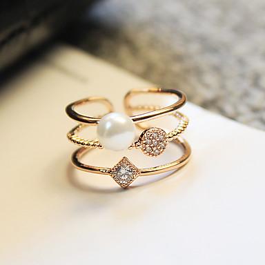 Mulheres Zircônia cúbica Anel / Anel de noivado - Pérola, Zircão Estilo simples, Dois Tons, Elegante Ajustável Dourado Para Casamento / Festa / Aniversário