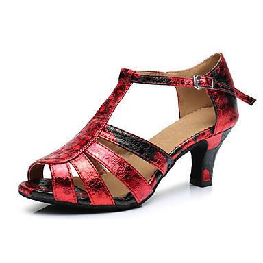 Mulheres Sapatos de Dança Latina Courino Sandália / Têni Presilha Salto Robusto Personalizável Sapatos de Dança Vermelho / Prata / Black