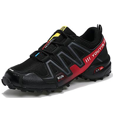 Homens sapatos Couro Ecológico Tule Primavera Outono Conforto Tênis Corrida Cadarço para Atlético Ao ar livre Azul Escuro Cinzento