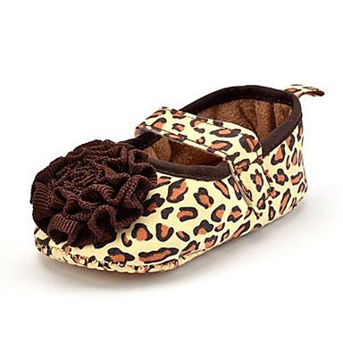 Crianças Para Meninas sapatos Tecido Verão Outono Mocassins e Slip-Ons Estampa Animal Flor para Marron