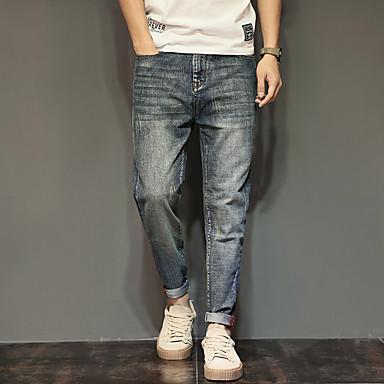 Herren Einfach Mittlere Hüfthöhe Mikro-elastisch Haremshosen Jeans Lose Haremshosen Hose einfarbig