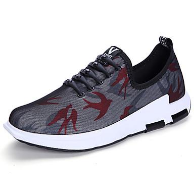 Homens sapatos Tule Primavera/Outono Conforto Tênis Caminhada Cadarço para Casual Preto Azul Marinho Cinzento Escuro