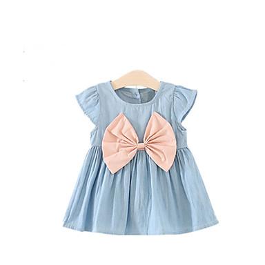 Girl's Bowknot Dress, Acrylic Denim Autumn/Fall Summer Short Sleeves Bow White Blushing Pink