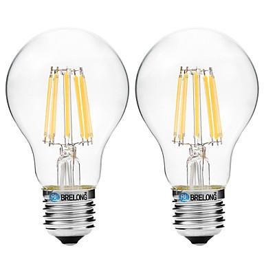 BRELONG® 2pcs 8W 600lm E27 Lâmpadas de Filamento de LED A60(A19) 8 Contas LED COB Branco Quente Branco 200-240V