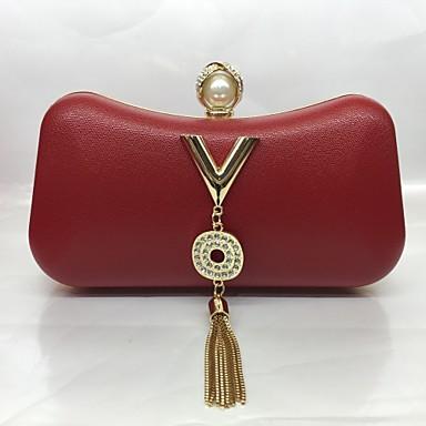 Damen Taschen PU Abendtasche Quaste Weiß / Schwarz / Rote
