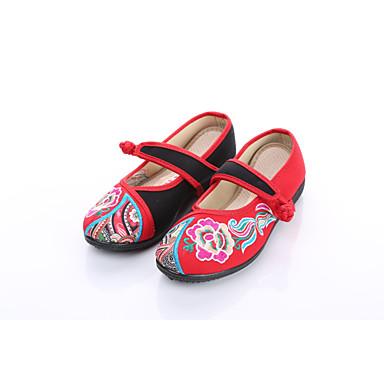 Dámské Bez podpatku Pohodlné vyšívané boty Látka Jaro Podzim Běžné Atletika Přezky Květiny Plochá podrážka Červená Plochý