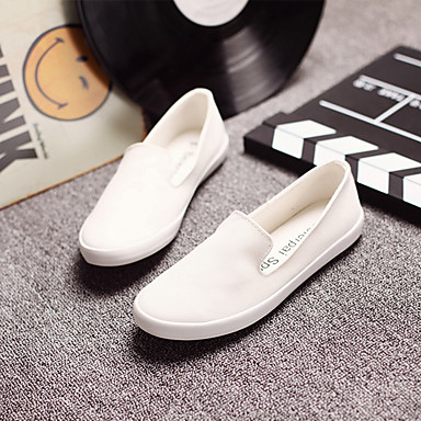 Damen Schuhe Leinwand Frühling Sommer Flache Schuhe Flacher Absatz für Weiß Schwarz