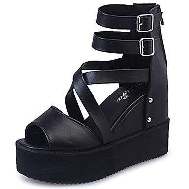 Mulheres Sapatos Couro Ecológico Verão Sandálias Caminhada Salto Baixo Peep Toe Tachas para Branco Preto