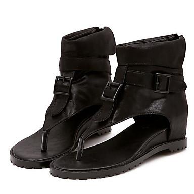 Naiset Sandaalit Comfort Kevät Siannahka Kausaliteetti Musta Khaki Tasapohja