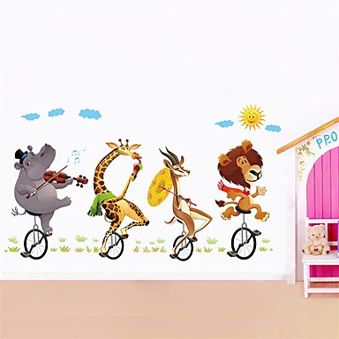 حيوانات وقت الفراغ عطلة ملصقات الحائط لواصق حائط الطائرة لواصق حائط مزخرفة 3D, ورقة تصميم ديكور المنزل جدار مائي جدار نافذة