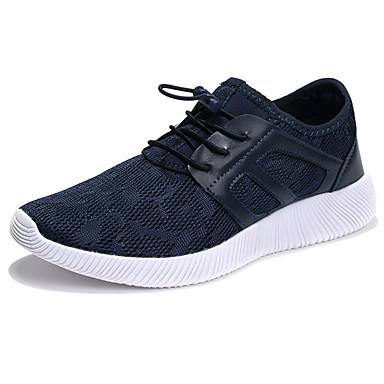 Homens sapatos Couro Ecológico Primavera Outono Conforto Tênis Corrida Cadarço para Atlético Preto Azul