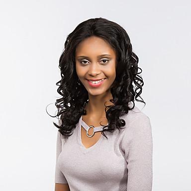 Synthetische Perücken Locken Natürlicher Haaransatz Schwarz Damen Spitzenfront Natürliche Perücke Medium / Lang Synthetische Haare