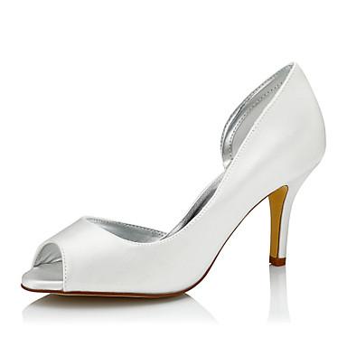 Mulheres Sapatos Seda Primavera Outono Conforto Sapatos De Casamento Salto Agulha Dedo Aberto Peep Toe Ponta Redonda para Casamento